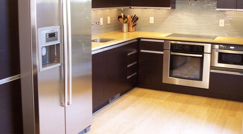 bamboo flooring in modern kitchen