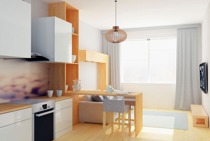 Small studio flat in gray colors minimal living