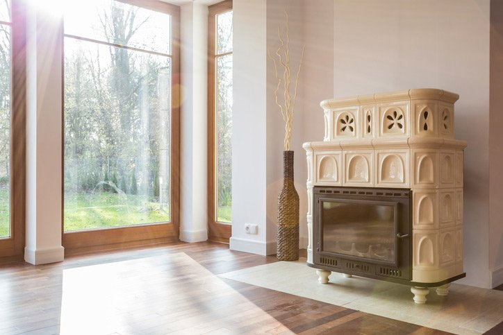 Old-fashioned wood stove in luxury interior