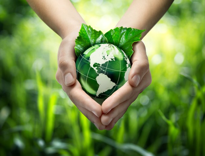 Hands holding green globe with grassy background for green living concept