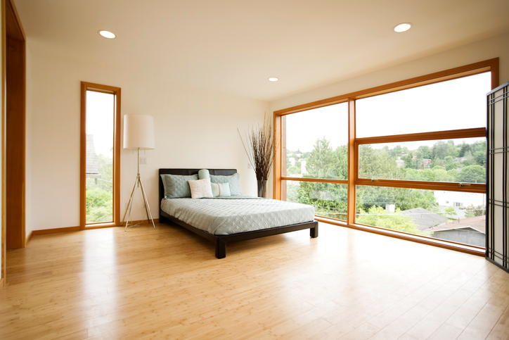 Modern Spacious Bedroom with Bamboo Flooring