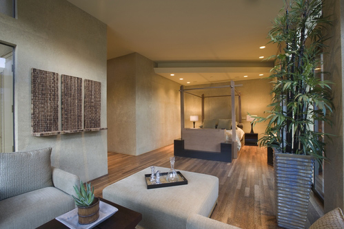 Open luxury living room with bamboo flooring