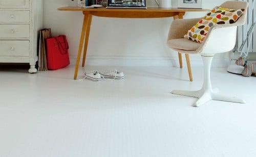 white vinyl floor
