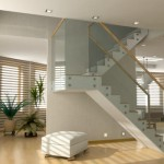 room with bamboo flooring on stairs