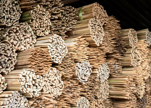 Stacks of bamboos for agriculture on sell by street shop ,Saraburi province,Thailand