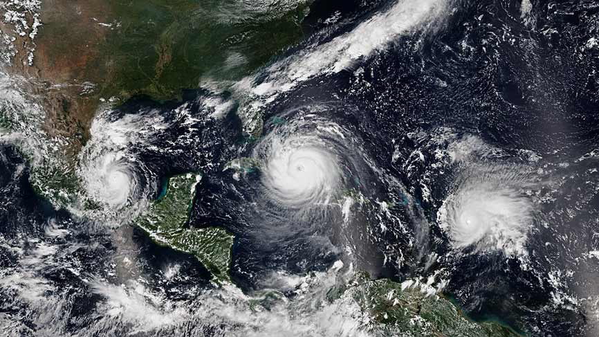 Three simultaneous hurricanes probably due to climate change