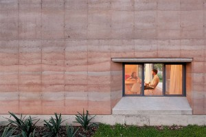 Example of rammed earth walls