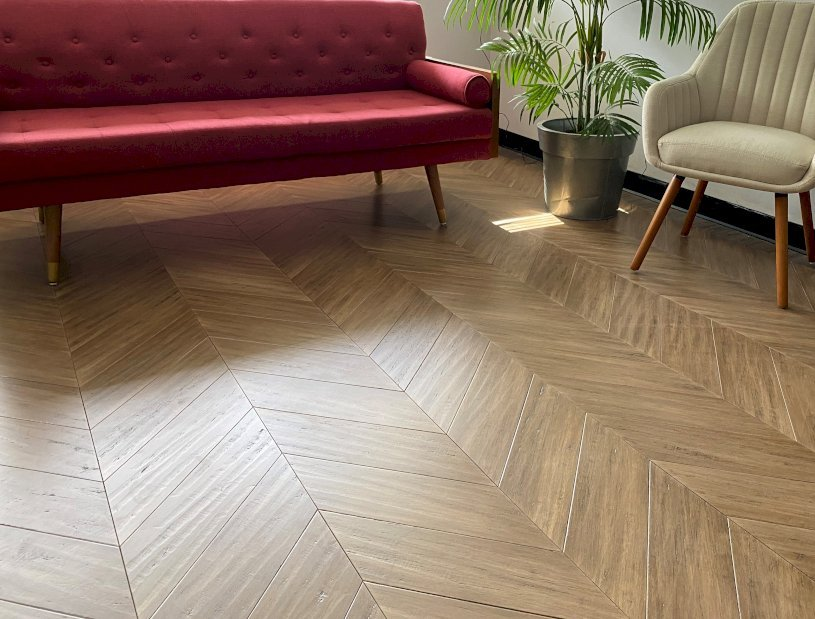 engineered bamboo chevron flooring from Ambient
