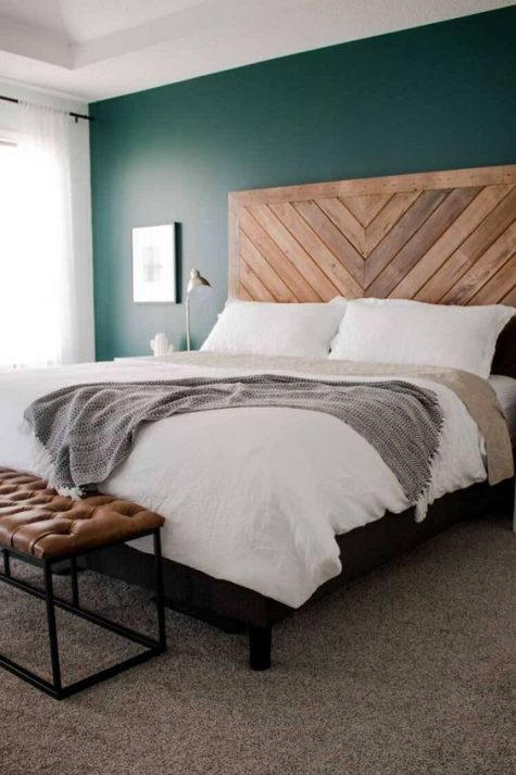 chevron-floor-used-to-DIY-make-headboard-bedroom