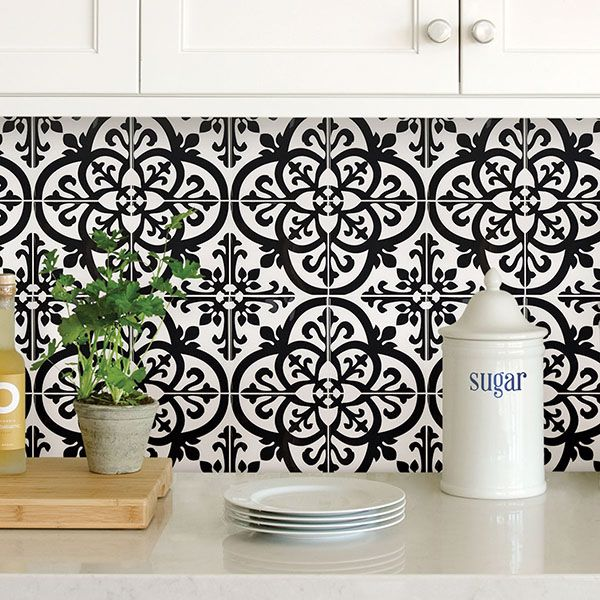 peel and stick tiles are perfect for a backsplash and make an easy DIY project