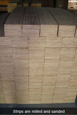 bamboo strips are milled and sanded