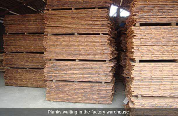 planks waiting in the factory warehouse