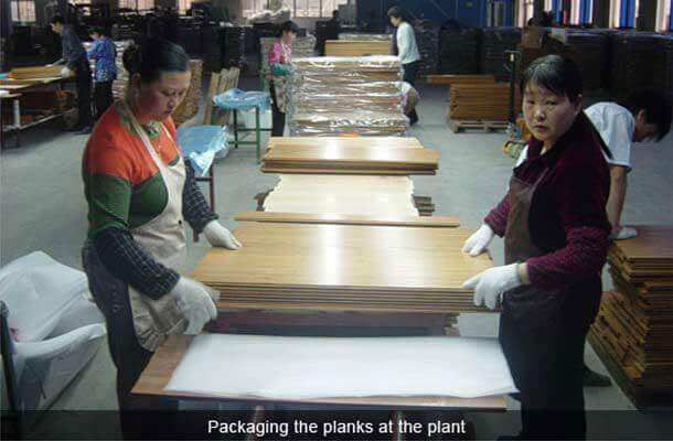 packaging planks at plant