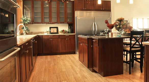 natural stranded bmboo wide plank kitchen flooring