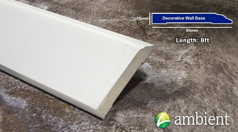 Primed White Poplar Decorative Baseboard 15mm