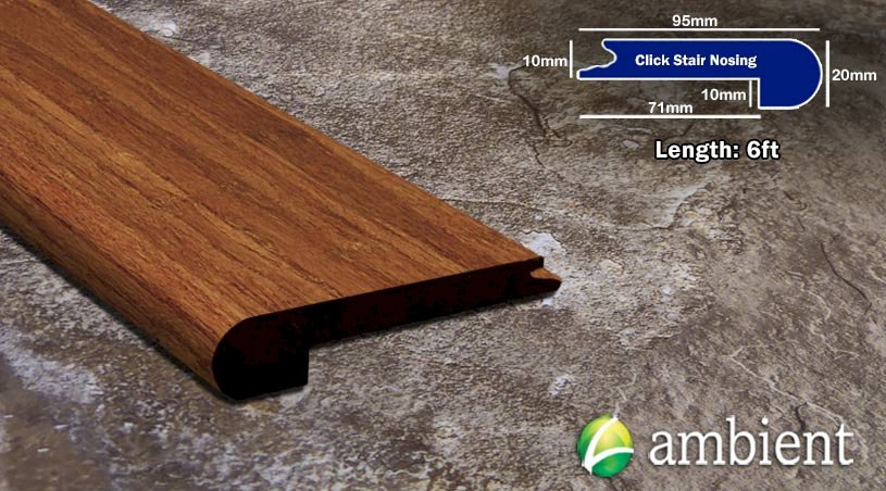 Carbonized Strand Click 3/8 Bamboo Stair Nose
