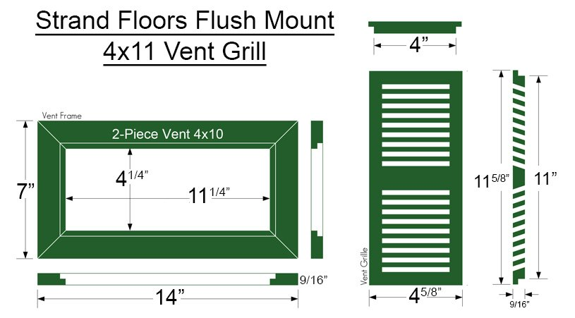 Bamboo Register Vent Cover4x11 Flush Mount