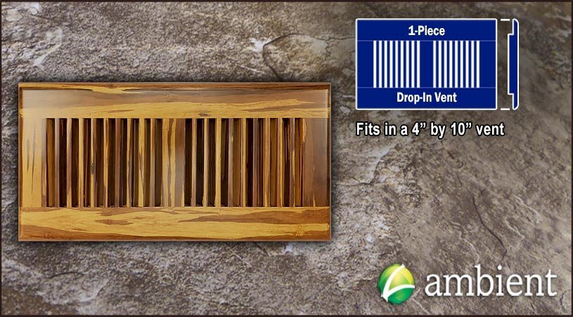Drop In Bamboo Register Vent Cover4x10 Tiger