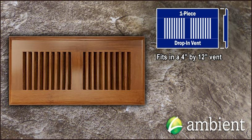 Drop In Bamboo Register Vent Cover4x12 Carbonized
