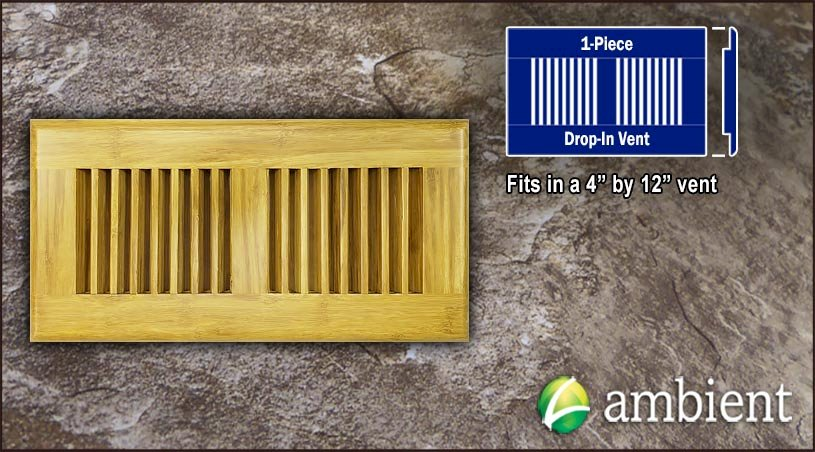 Drop In Bamboo Register Vent Cover4x12 Natural