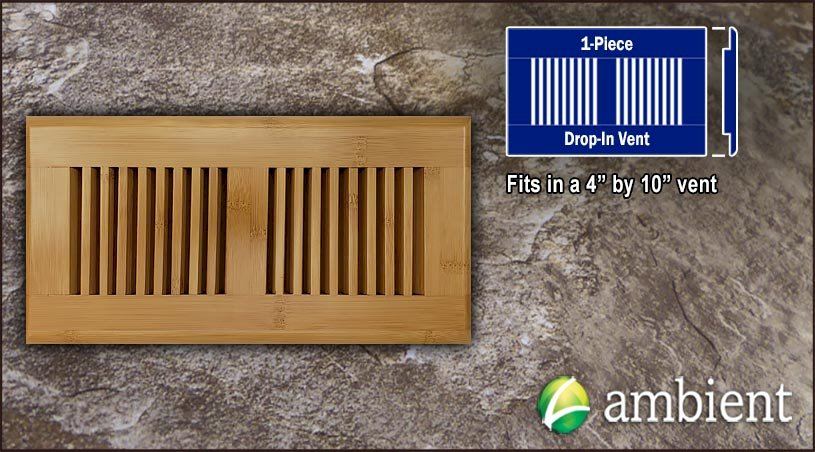 Carbonized Horizontal Drop In 4x10 Bamboo Vent Grill