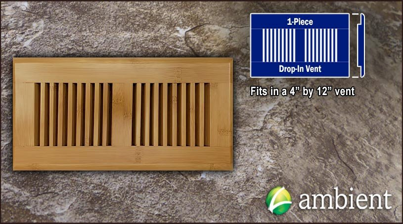 Carbonized Horizontal Drop In 4x12 Bamboo Vent Grill