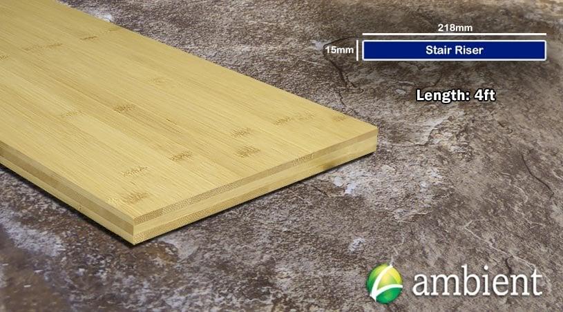 Horizontal Bamboo Stair Riser Up Board Natural