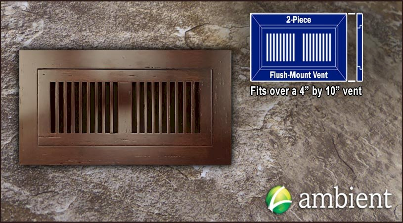 Register Vent Flush Mount Bamboo4x10 Amber Distressed