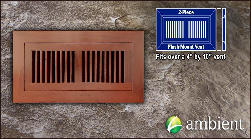 Register Vent Flush Mount Bamboo4x10 Cinnamon