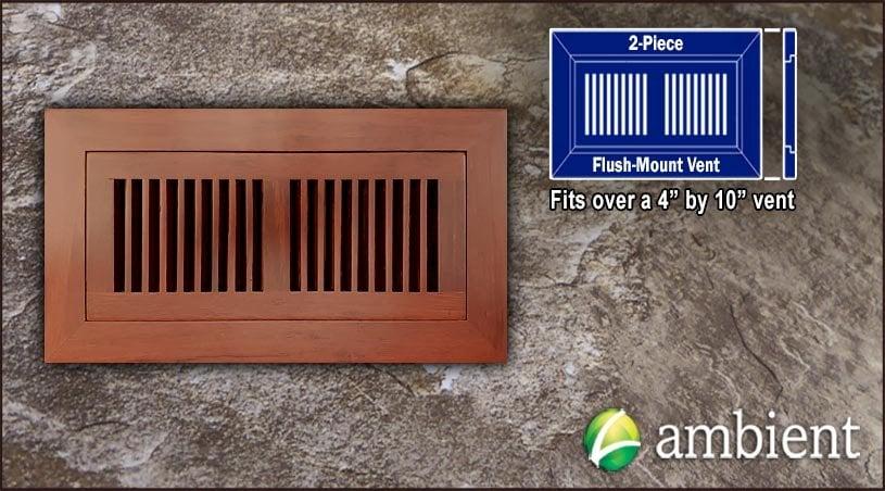 Cinnamon Flush Mount 4x10 Bamboo Vent Grills