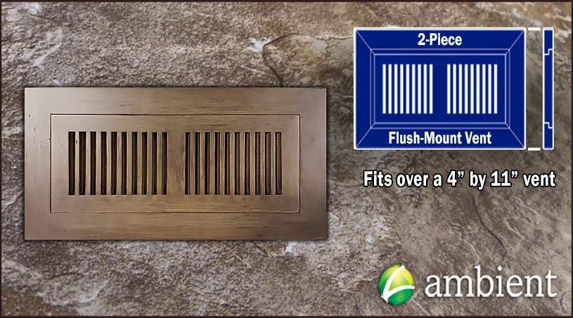 Mesa Antiqued Flush Mount 4x11 Bamboo Vent Grill