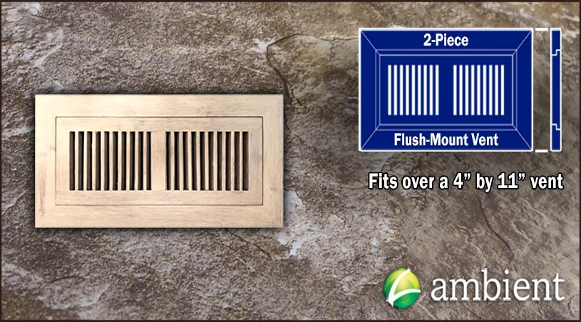 Tahoe Distressed Flush Mount 4x11 Bamboo Vent Grill
