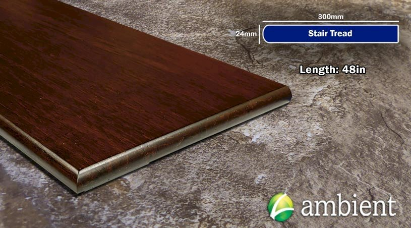 Espresso Brushed Bamboo Stair Tread - 48 in Length