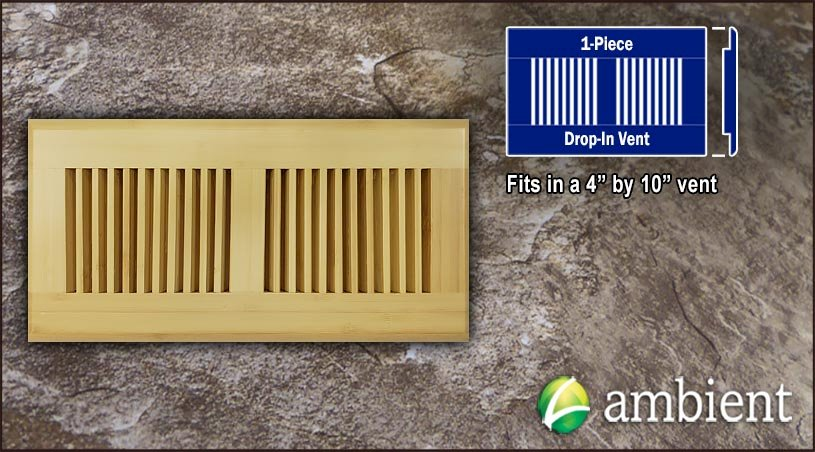 Natural Vertical Drop In 4x10 Bamboo Vent Grill
