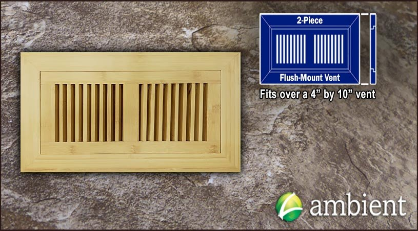 Natural Vertical Flush Mount 4x10 Large Bamboo Vent Grill