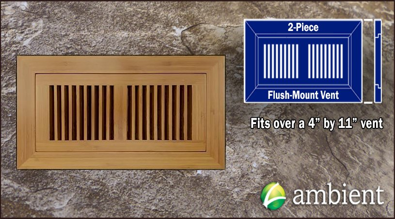 Carbonized Vertical Flush Mount 4x11 Bamboo Vent Grill