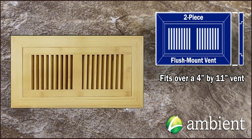 Natural Vertical Flush Mount 4x11 Bamboo Vent Grill