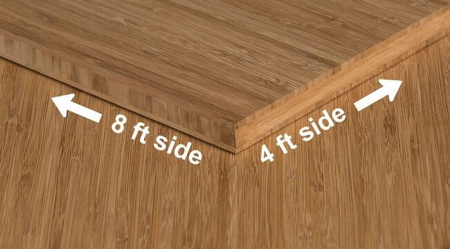 Carbonized Vertical Edge Grain Unfinished Bamboo Plywood Sheet Angle