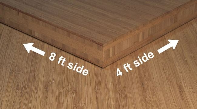 Carbonized Vertical Edge Grain Unfinished Bamboo Plywood Sheet Angle112