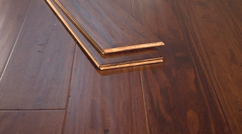 Cafe Brown Handscraped Premium Tongue Groove Eucalyptus Floors Angle66