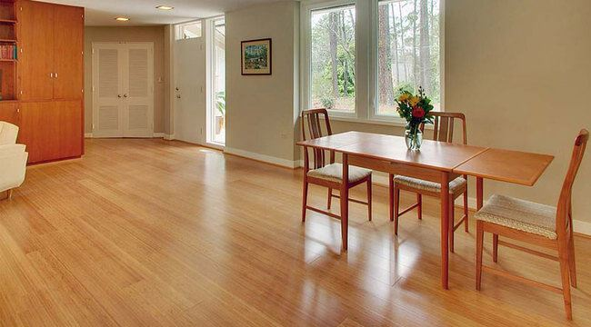 Carbonized Vertical Bamboo Flooring Glue Down Dining Room0199