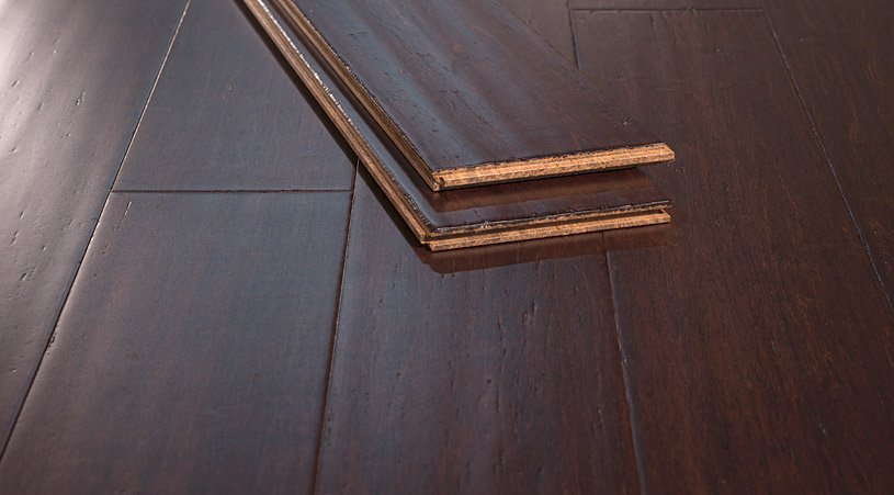 Coffee Handscraped Solid Strand Bamboo Floor