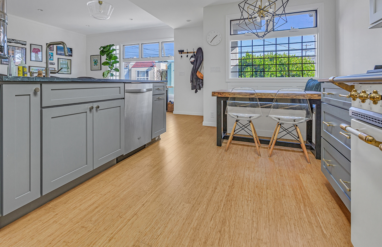 Natural Wide Plank Strand Bamboo Floor Kitchenpfc2