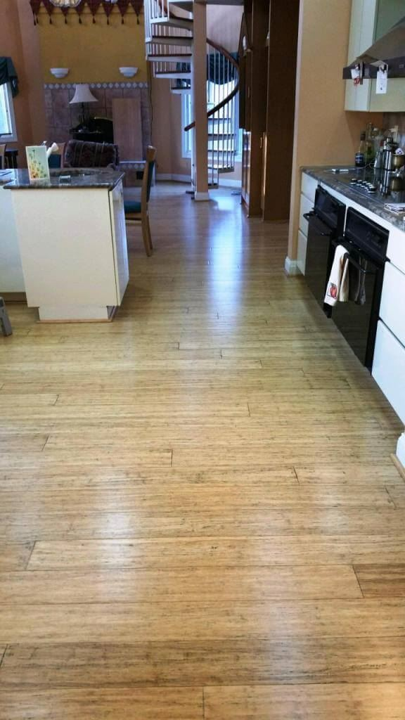 Strand Woven Antiqued Natural Bamboo Flooring Handscraped Kitchen
