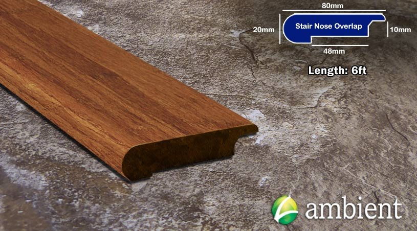 Bamboo Stair Nosing Bull Nose Carbonized Overlap 12mm