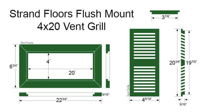 Bamboo Register Vent Cover4x20 Flush Mount