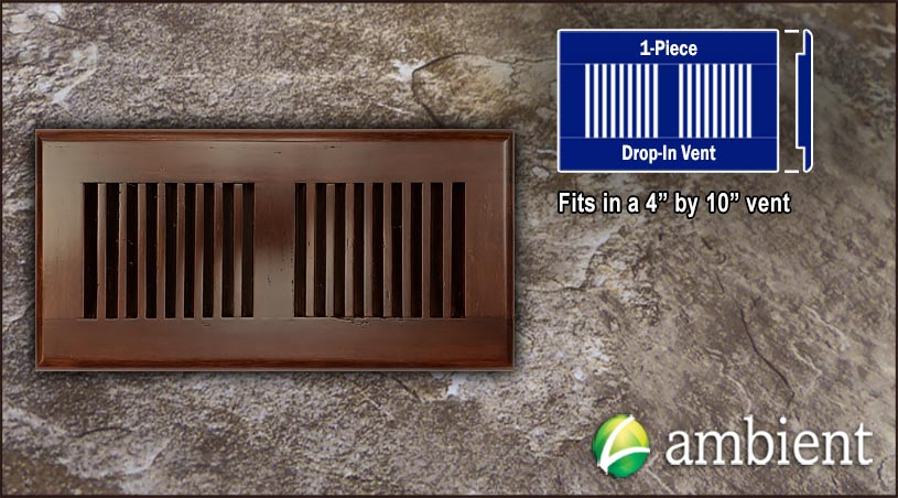 Drop In Bamboo Register Vent Cover4x10 Amber Dist