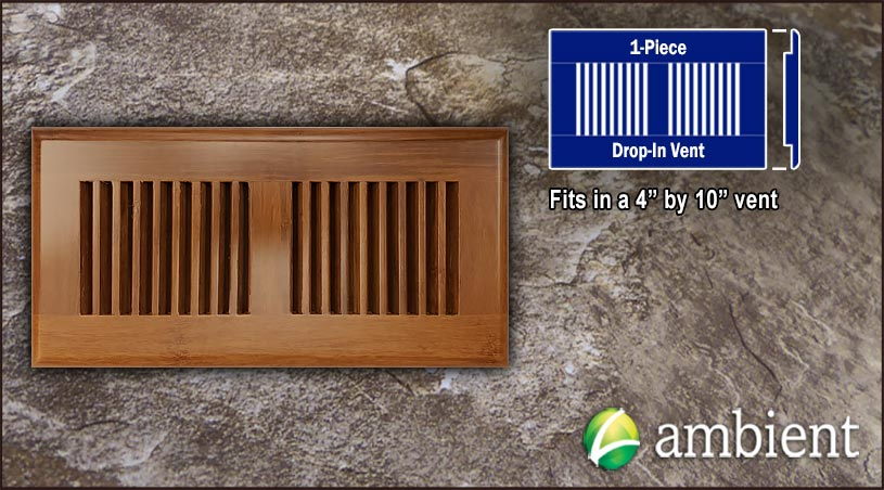 Drop In Bamboo Register Vent Cover4x10 Carbonized