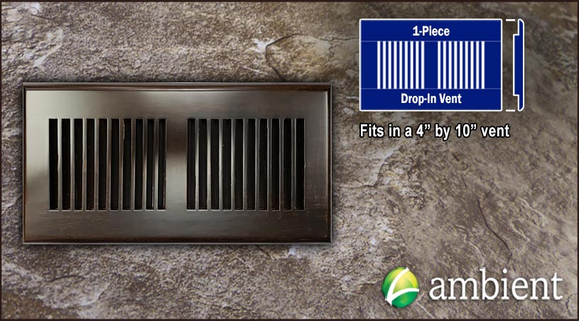 Drop In Bamboo Register Vent Cover4x10 Coffee