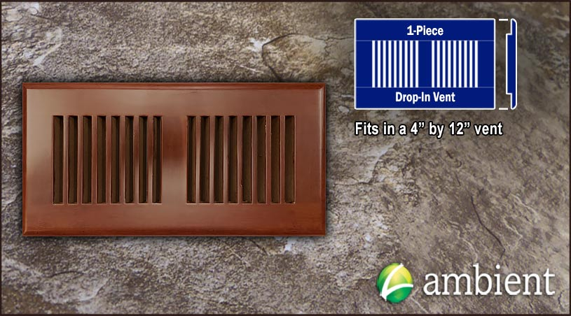 Drop In Bamboo Register Vent Cover4x12 Cinnamon